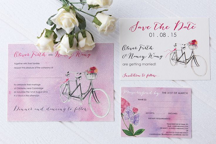 Soft watercolour wedding invitation suite, with a tandem bicycle and pink and purple flowers. Wedding Invitation, RSVP Card and Save the Date card.