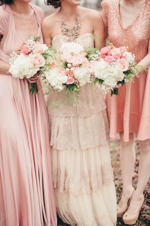 How about mix and match your bridesmaid's dresses? The combination of different shades and styles adds a special touch to your bridal party.