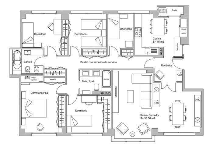 Plano casa de 5 habitaciones ideas para el hogar for Plano habitacion