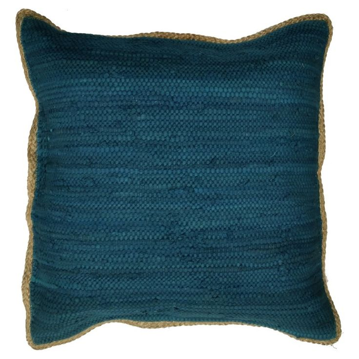 LR Resources Riley Chindi/Jute Throw Pillow Dark Blue - PILLO07282BLUFFPL