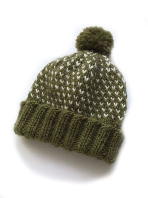 Chance of Flurries Hat free knitting pattern on Lion Brand Yarns