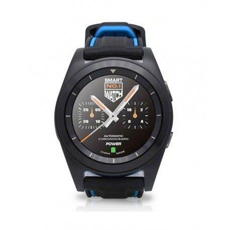 Bluetooth Smart Watch, No1 G6 smart phone watch, handsfree bellen via bluetooth, hartslagmeter, geschikt voor iphone en android, berichten lezen en verzenden, wekker, agenda, calorieënteller, mediaspeler, 2 rubberen bandjes erbij zwart en zwart met blauw.