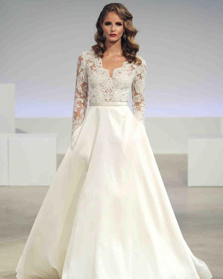 "Anne Barge Fall 2017 Wedding Dress Collection | Martha Stewart Weddings – ""Brooks"" Long-sleeve Alençon lace V-neck wedding dress with voluminous A-line Mikado skirt."