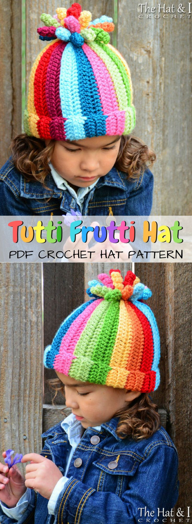 Multi-colored striped Tutti Frutti Beanie crocheted hat pattern! I love this fun hat with a cute spray of colors in place of a pompom! Adorable! #etsy #ad #crochet #pattern #instant #download #pdf