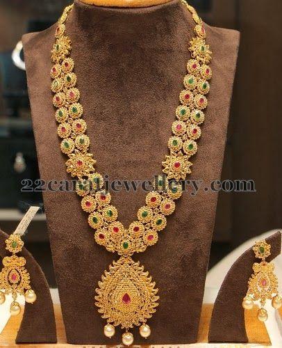 Jewellery Designs: Uncut Diamonds Pretty Long Chain