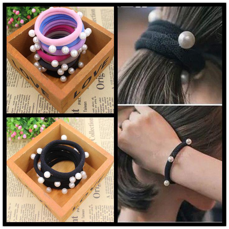 Super Qualität 5 CM Perlen Krawatte Gum 2015 Neue Mode Candy Farben Haar-halter Gummibänder Gummibänder Mädchen Haar zubehör