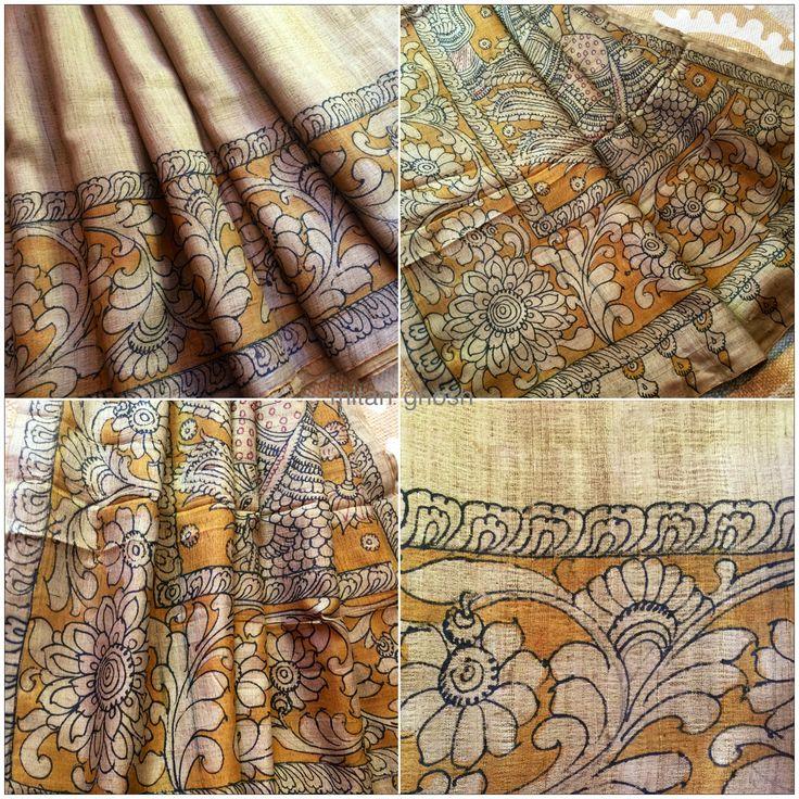 Kalamkari on Tussar Silk From Andhra Pradesh