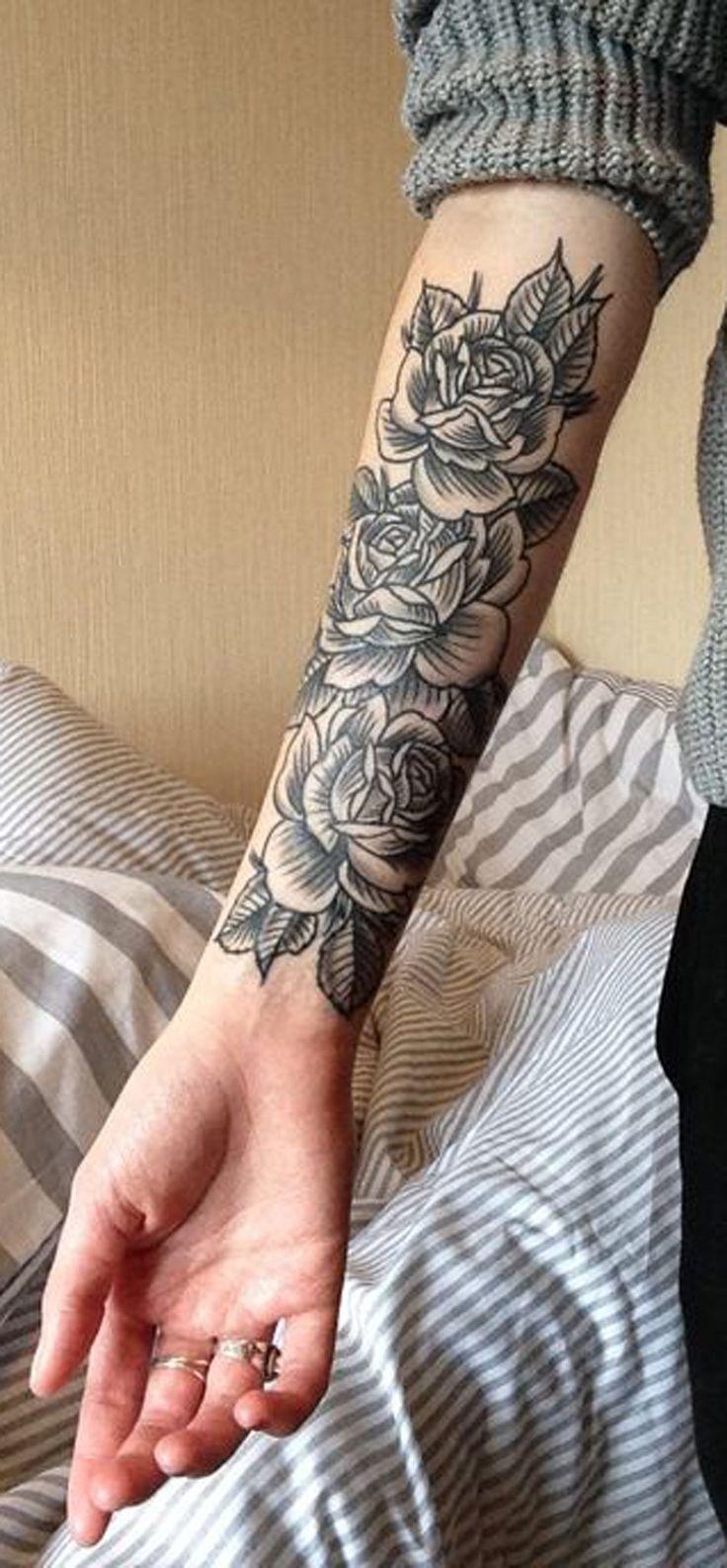 Black Rose Forearm Tattoo Ideas for Women Vintage