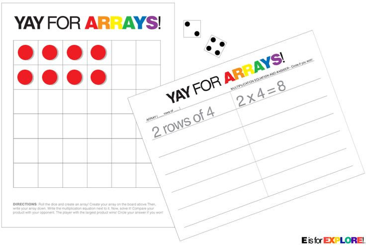 2 player, dice game: Kids take turns rolling two dice. They use the numbers the dice land on to create an array on a grid, using number counters (or cheerios, paperclips, etc.). After they make their array, they write it down (ex: 2 rows of 4). Then, they write the multiplication equation down and solve it. They compare their answer to their opponent's. The player with the largest product wins and circles his answer. They continue playing. Then, when they're finished, they count up the total…