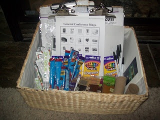 Grateful for the Ride: General Conference Activities for Kids. Cute basket of things to do.
