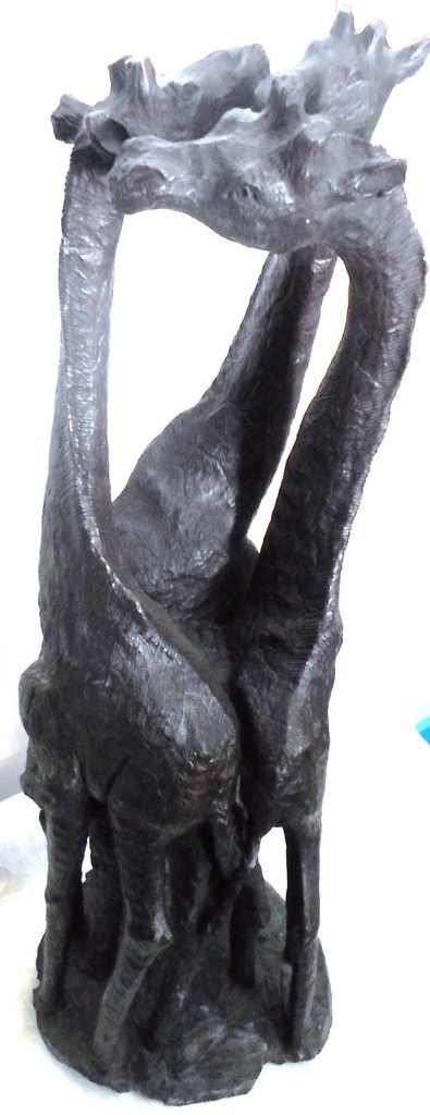 SOLD SOLD African Giraffes 3 standing together Ironwood carving*