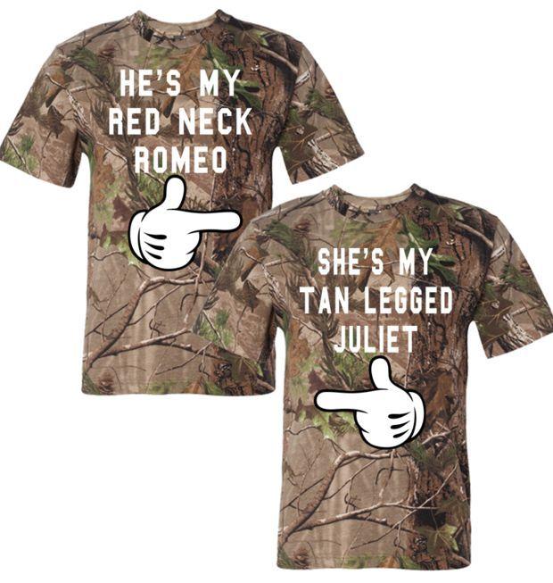 he is my redneck romeo she is my tan legged juliet realtree tshirt