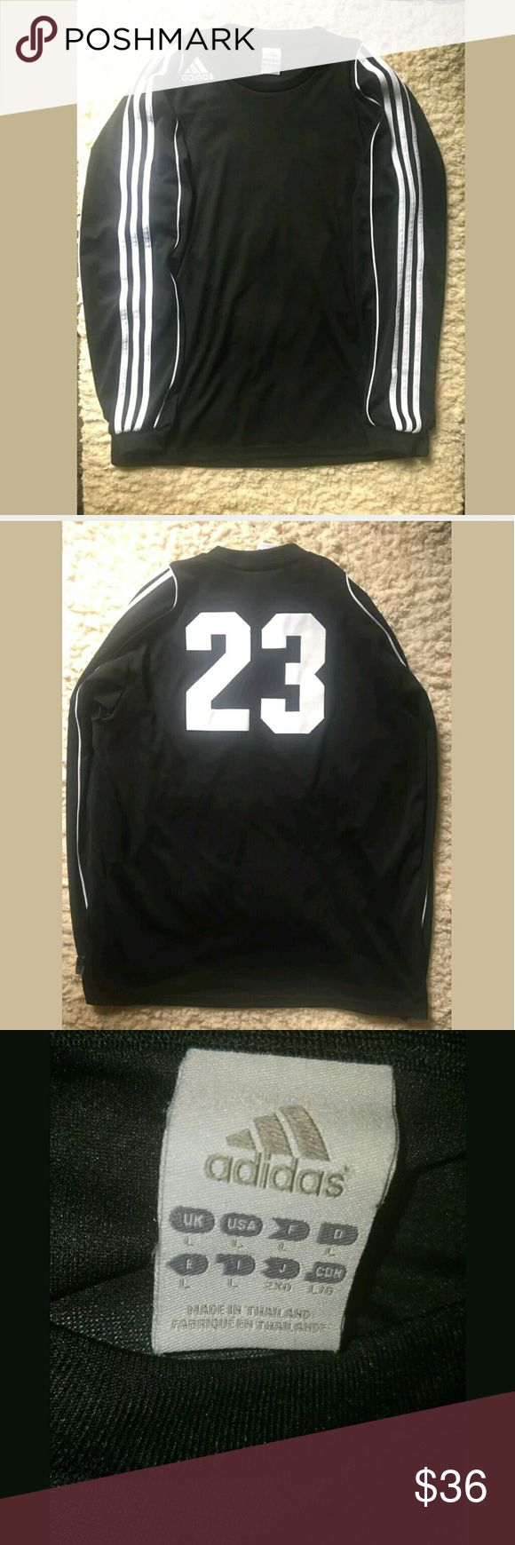 Adidas Shirt Men's Large Long Sleeve Fitness 3 Str Adidas Shirt Men's Large Long Sleeve Fitness 3 Stripes Black White #23   Excellent used condition.   23 inches pit to pit.  31 inches long.   AB adidas Shirts Tees - Long Sleeve