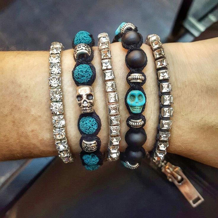 New shamballa bracelets woth lava stone and turquoise