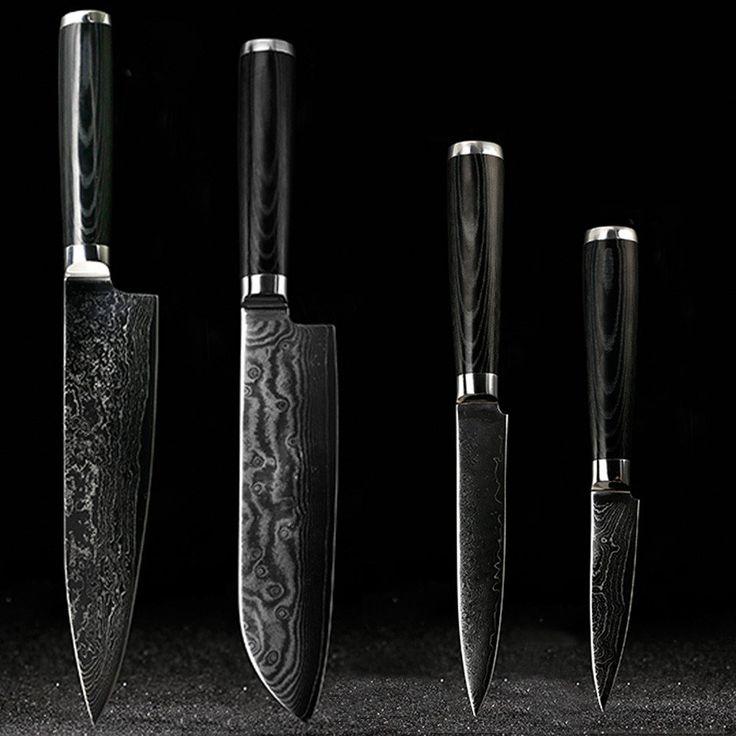 "FINDKING Japanese Damascus knife set 8 inch chef knife 7.5 inch Santoku  5 inch utility 3.5"" paring knife"
