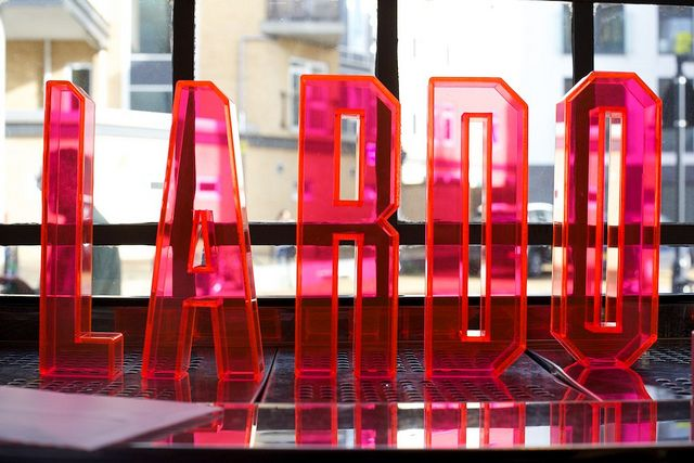 LARDO launch party by LARDO London, via Flickr. environmental graphic design