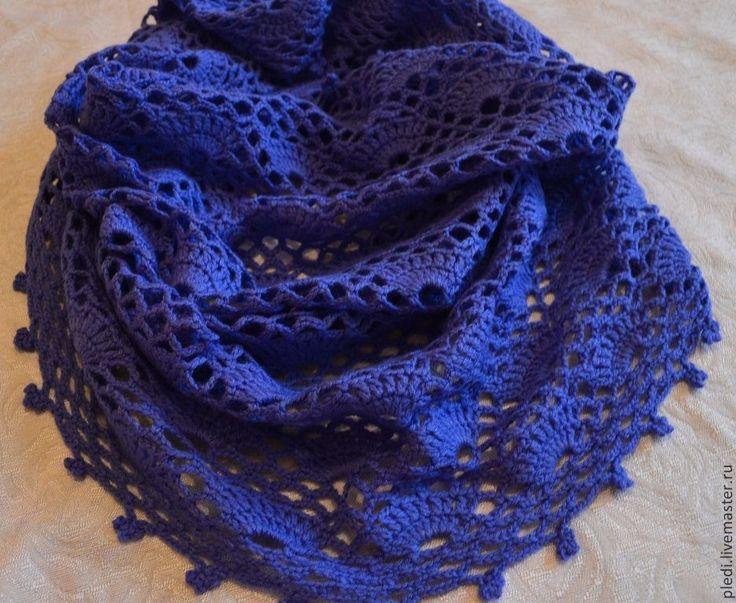 Ажурный шарф-труба, снуд, хомут - васильковый,однотонный,ажурный узор