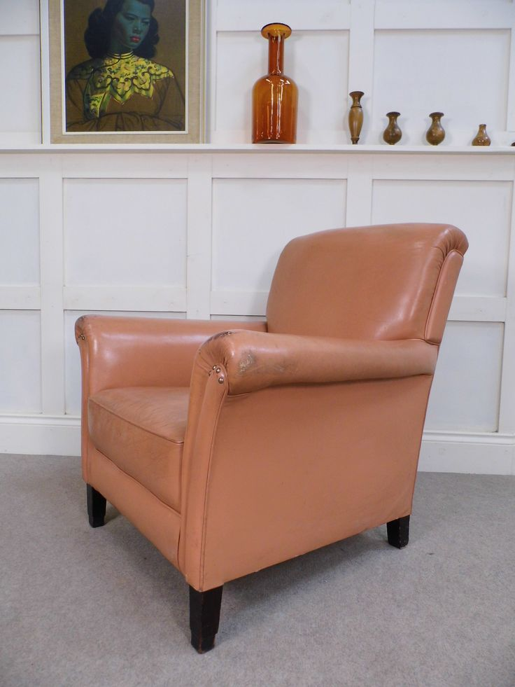 Vintage Antique Leather Library Gentlemans Club chair ex FOC Howard & Sons age