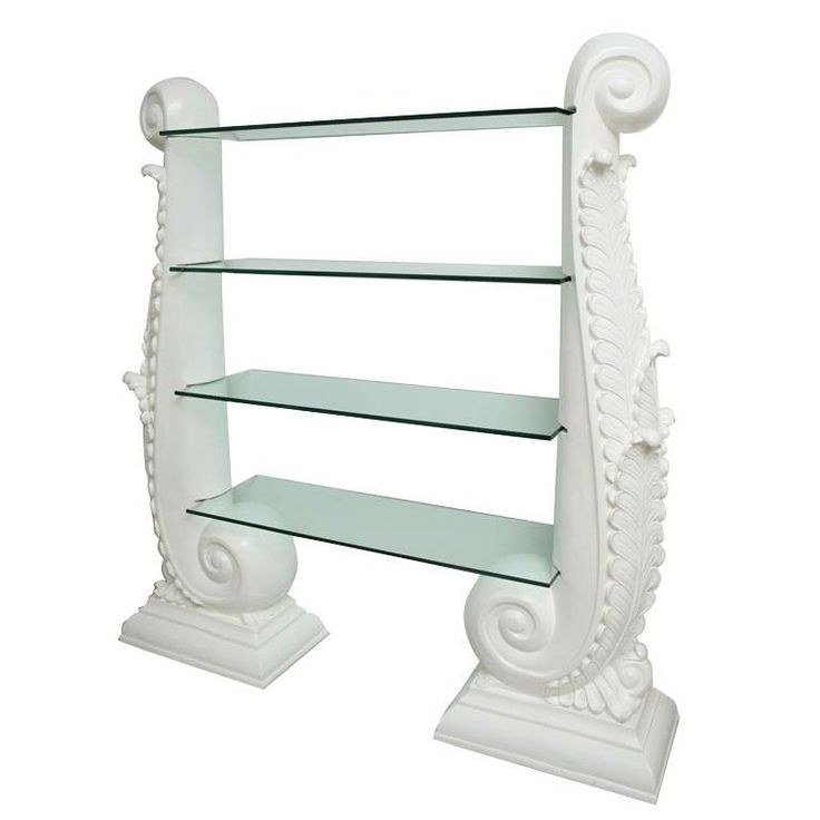 Hollywood Regency etagere white laquered