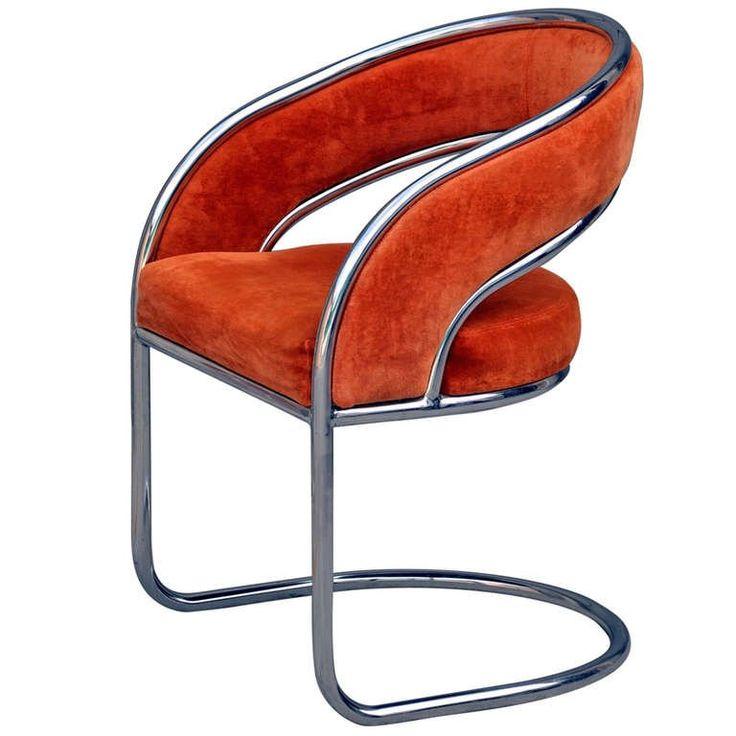 Unique 70u0027s Orange Velvet And Chrome Armchair