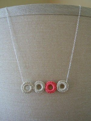 """Crochet Ring Necklace Tutorial...the tutorial calls for """"jump rings"""" but I think even some washers would work."""