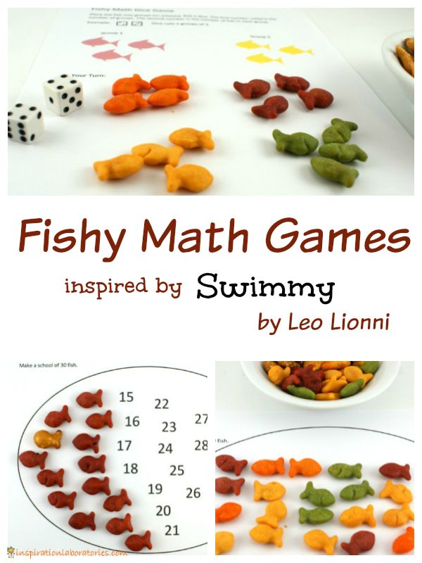 Play Fishy Math Games with Swimmy by Leo Lionni. Download the free printables. Part of the Virtual Book Club for Kids