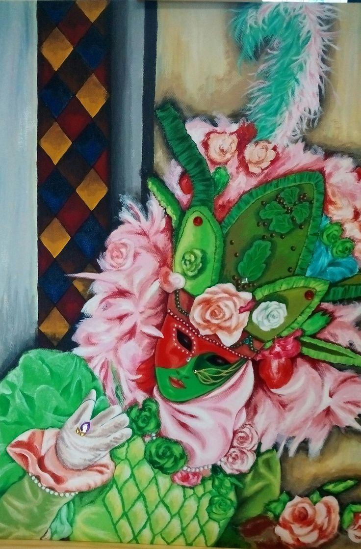 Masque vénitien vert et rose. Peinture acrylique 60 x 60, Christine Monsion