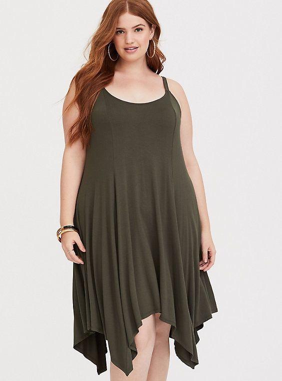 0e93825eff6 Plus Size Olive Handkerchief Jersey Dress