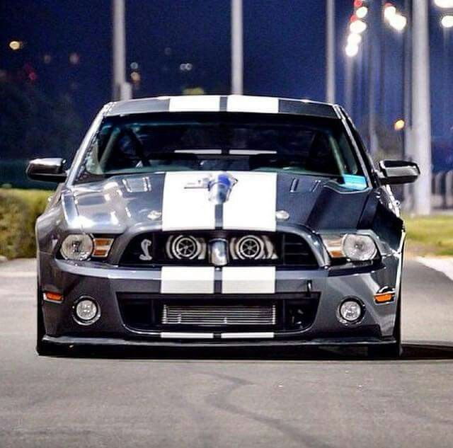 Drag Mustang, sporting dual turbos in the grille