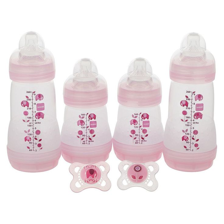 MAM Baby 0  Months Pink 4-Bottle and 2-Pacifier Gift Set