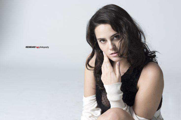 Studio portrait of catherine Poulain, fashion blogger and curvy model