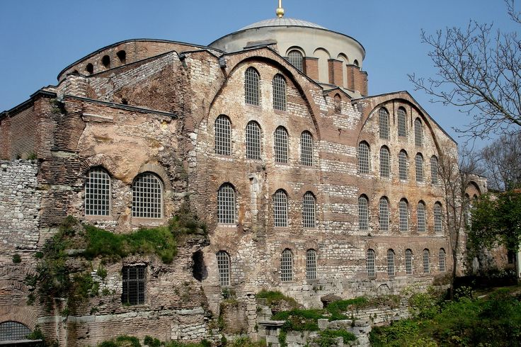 BYZANTINE ARCHITECTURE - Church of Hagia Irene, begun 532, Istanbul. The scheme design of the domed Hagia Sophia had influenced the church of Hagia Irene or Holy Peace. It commissioned by Justinian I in 532 and rebuilt in 564 and again in 740. Its current form is from 8th century.
