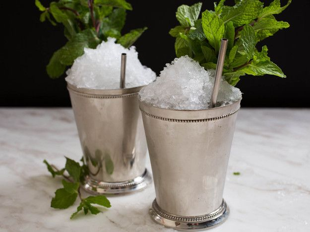 Mint Julep  2 to 3 ounces bourbon, to taste 1 teaspoon sugar, to taste, dissolved in 1 teaspoon water (or use 2 tsp. simple syrup) 8 to 10 leaves fresh mint Mint sprigs, for garnish Crushed ice