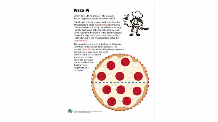 Pizza Pi Math Activity Printable- Teach kids the meaning of pi with this easy measuring activity.