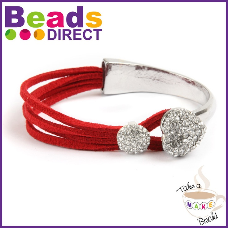One of our bestselling bracelet designs! Click on the picture to see the instructions on how to make it.    What you will need:  1x Bracelet Bar [CH137]  1x Crystal Charm Bead [CR178]  1x Red Suede [TC449]  1x Fevi Kwik Glue [W271