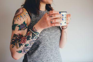 Fresh tattoos on an arm - Unsplash / Pixabay / Public Domain