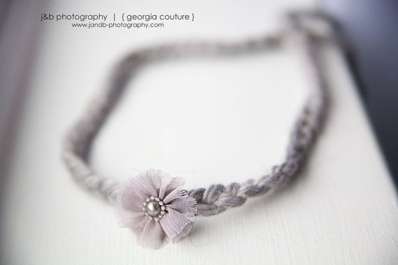 One of my favorite Vendors Newborn Photo Prop  www.georgiacouture.etsy.com  Petite   Grey Yarn Halo Headband Photo Prop