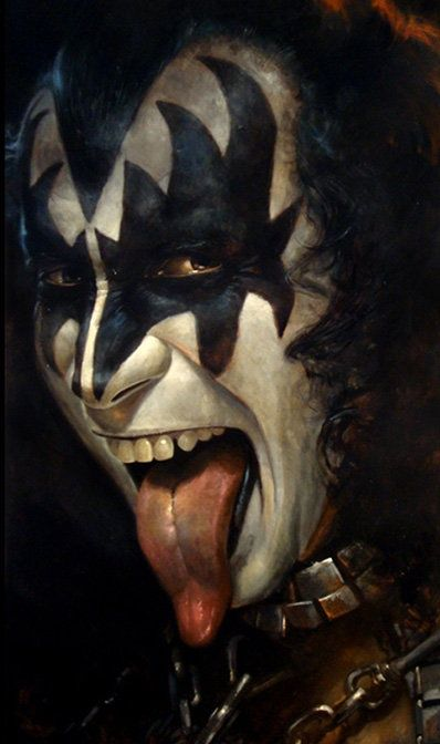 A superb painting of Kiss bass bassist Gene Simmons available from Kult #kiss #genesimmons