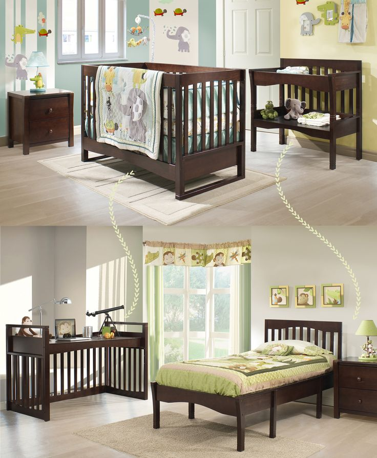 Our convertible EVO collection: Available pieces: - Crib convertible into desk (no additional pieces required) - Changing table convertible into twin bed (no additional pieces required) - Night table  Step 1: Baby bedroom Step 2: Toddler to teenager bedroom