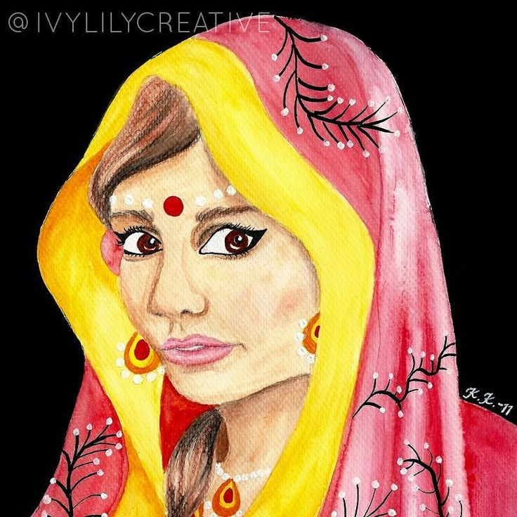 Another Indian girl in #watercolor and acrylics. You can get a free #coloring page of her by signing up at http://bitly.com/FreebieColoringPage.  #colouring #coloringpage #arttherapy #lovecoloring #väritys #värityskuva #lowbrowart #coloringforadults #coloringpage #colortherapy #portrait #painting #indiangirl #indianbride #ivylilycreative