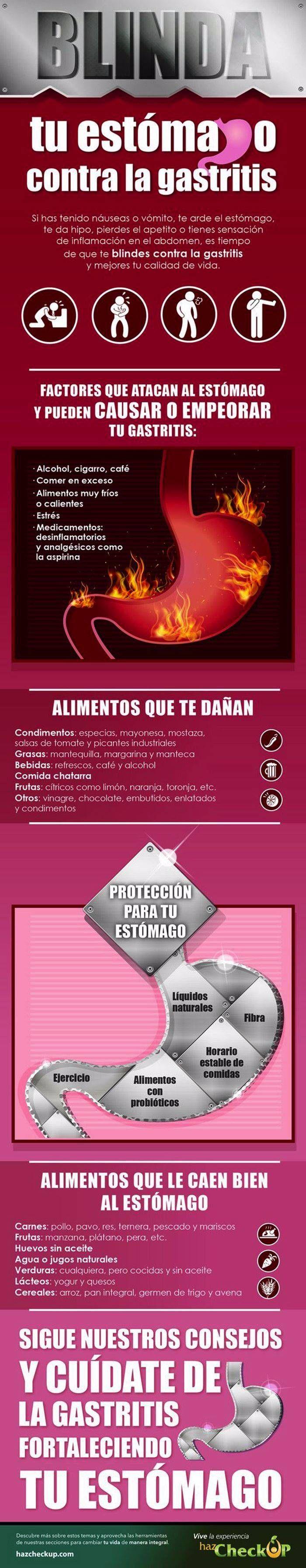 Alimentos y hábitos que dañan tu estómago y alimentos recomendados para prevenir la gastritis. #infografias #gastritis #salud