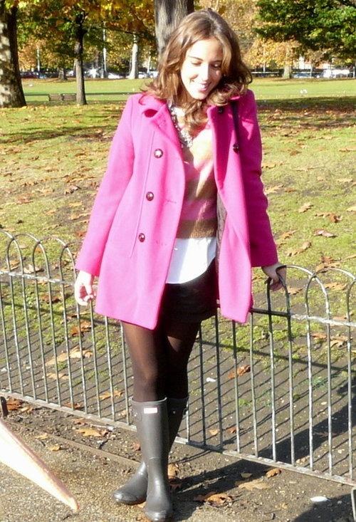 London in Pink  , Zara in Coats, H in Sweaters, Ralph Lauren in Shirt / Blouses, Hunter in Boots