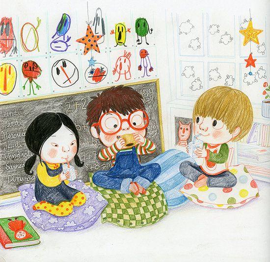 Dis Papa, dis Maman, tu fais quoi quand je suis pas là? Pencil and water colour, Amelie Graux