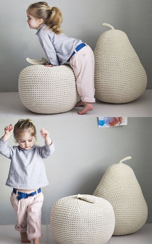 The apple and pear pouffe by Rowen & Wren are from organic crocheted cotton and would make the greatest climbing toys in our nursery.