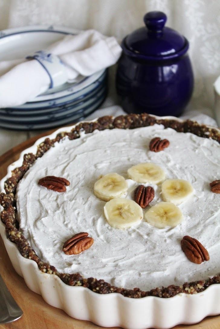 Raw Vegan Chocolate Banana Pie with Coconut Whipped Cream