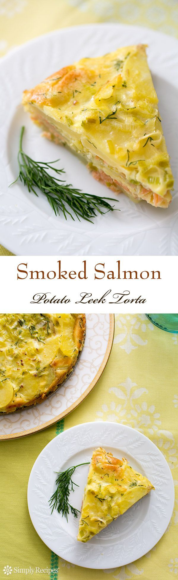 Smoked Salmon Potato Leek Torta ~ Delicious potato torta with Yukon Gold potatoes, smoked salmon, leeks, dill, eggs, and cream. Perfect for a Sunday brunch! ~ SimplyRecipes.com