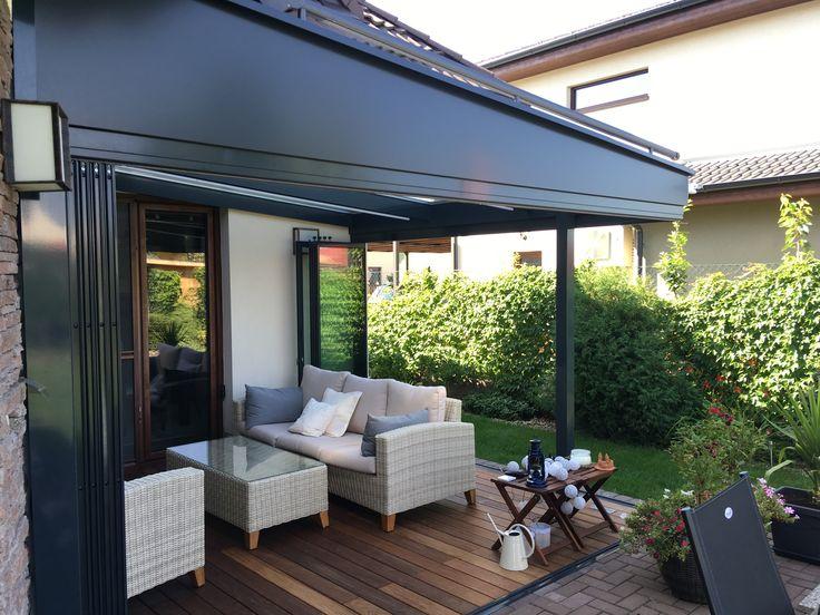 Zimná  záhrada SPECEline  rámový posuvno-otočný systém SUNFLEX sf35 sklenená strecha oceľová konštrukcia na mieru tienenie strechy