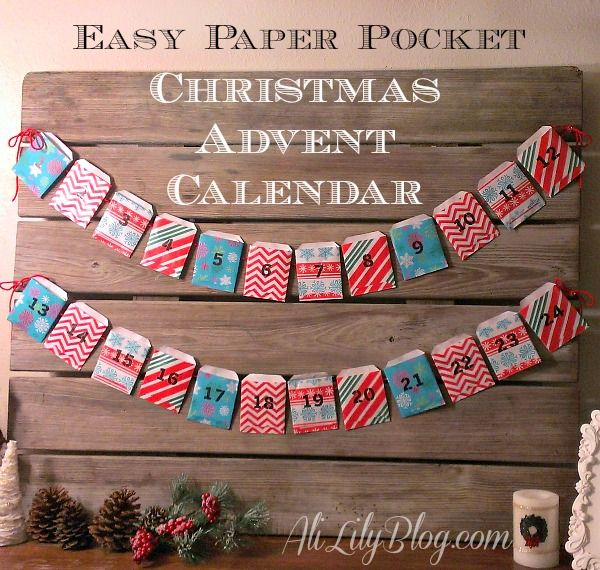 Easy last minute Paper Pocket Christmas Advent Calendar from AliLilyBlog.com