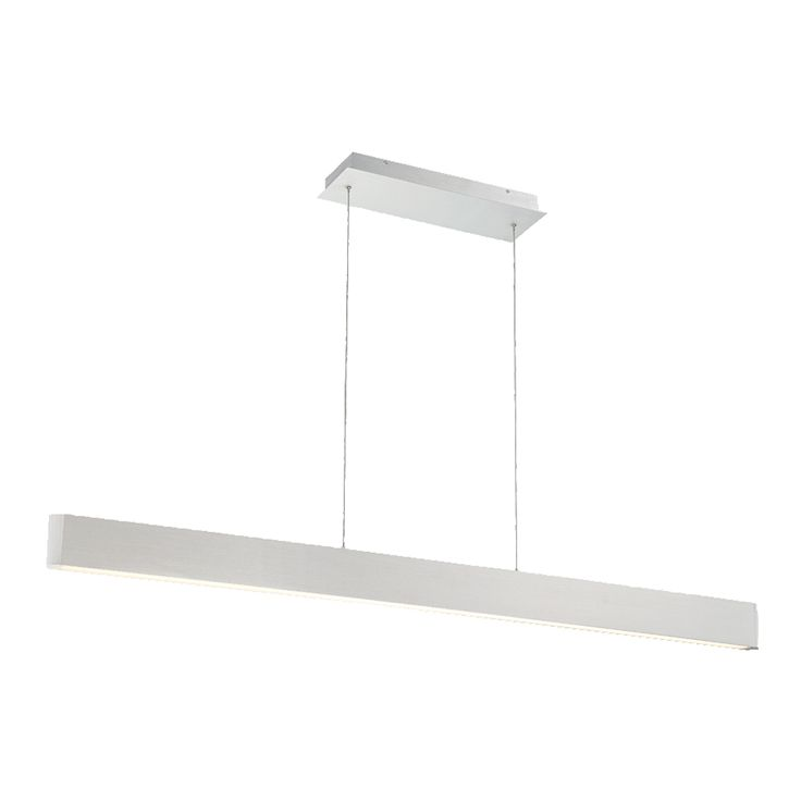 The Volo Pendant is a luminous linear pendant with brushed metal finish and rounded ends. Available in Brushed Aluminum or Black finish. Adjustable to different lengths through push-pin locking canopy. One 56 watt, 2535 lumen 90CRI 3000K LED Module is included. 54 inch width x 3.25 inch height x 85 inch overall length. Damp location listed.
