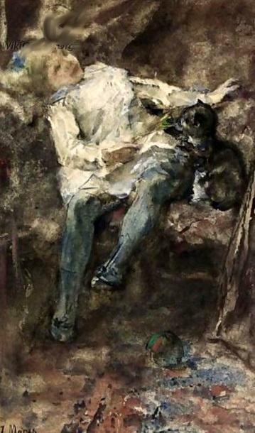 Jacob Henricus Maris (1837 – 1899, Dutch) Girl playing with a Cat